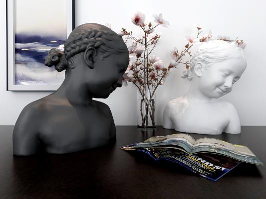 现代少女雕塑 摆件