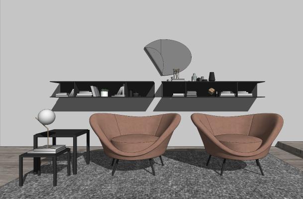 现代休闲桌椅组合 书架