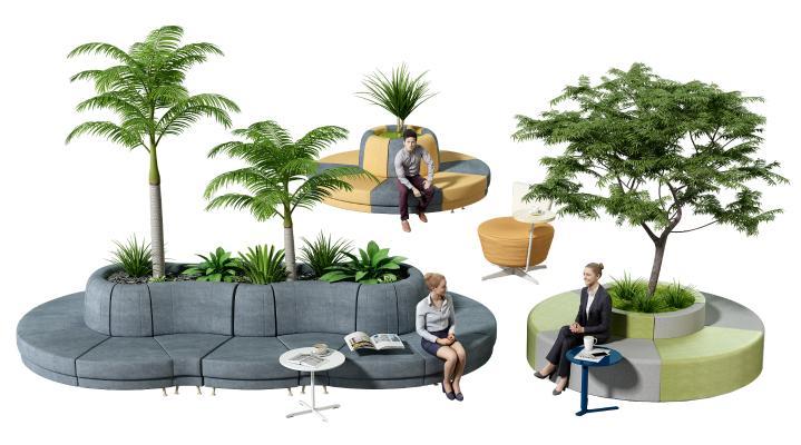 现代卡座 异形沙发 坐姿人物 景观树 公共休息椅