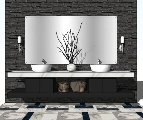 现代洗手台 镜子