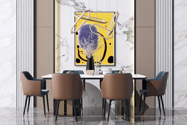 现代餐桌椅组合 艺术创意吊灯 装饰挂画