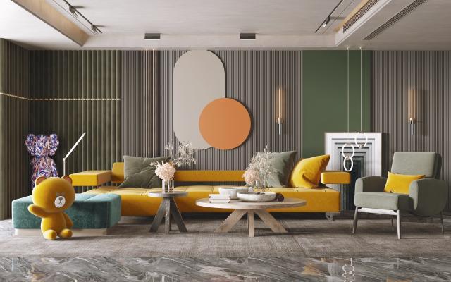 现代客厅 沙发茶几组合 饰品