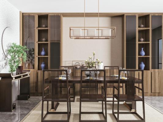 新中式餐桌椅组合 吊灯