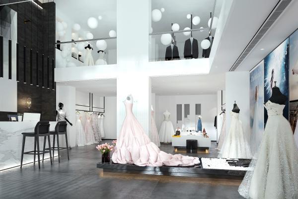现代婚纱店 婚纱 前台 吧椅 中岛 西装 手提包 鞋子