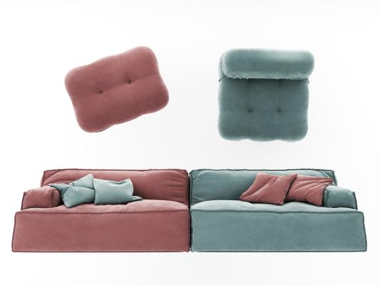 现代绒布沙发 沙发凳 沙发