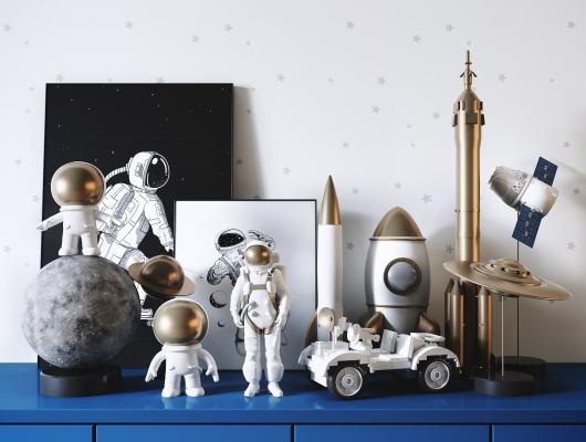现代宇航员火箭太空主题儿童玩具 装饰摆件