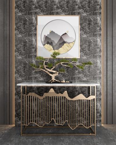 新中式玄关柜装饰品组合