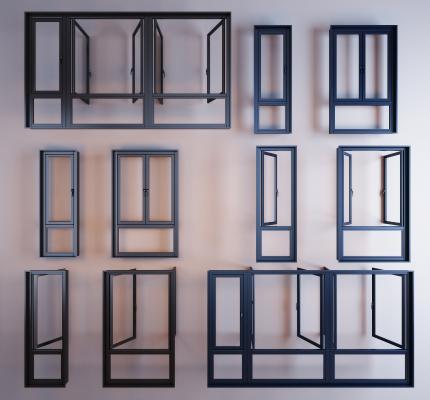 现代铝合金窗框窗户组合