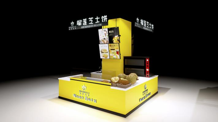 现代风格零食店 榴莲饼店 零食中岛店
