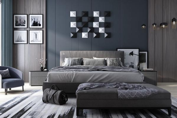 现代卧室 双人床