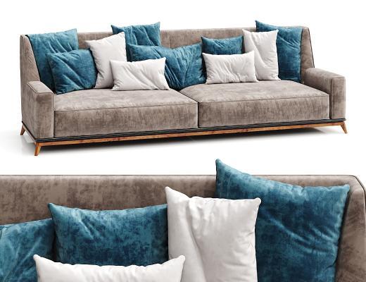 北欧三人沙发 抱枕 布艺