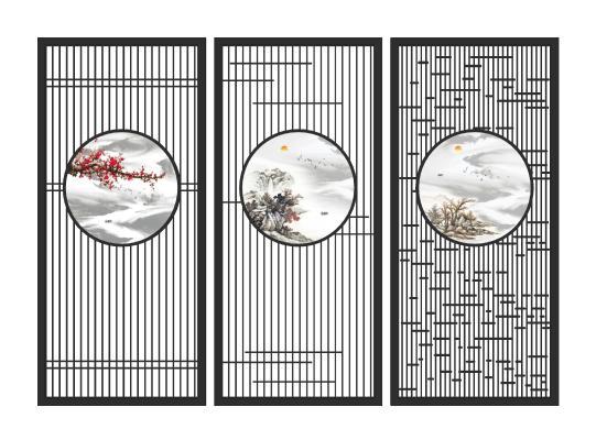 新中式山水屏风隔断 屏风 隔断