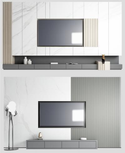 现代电视背景墙 雕塑 摆件组合
