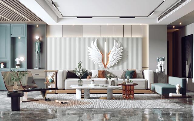現代客廳 沙發茶幾組合 沙發背景墻