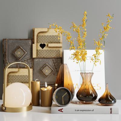 现代饰品摆件组合 玻璃花瓶 台灯