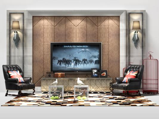 后现代电视柜 电视墙