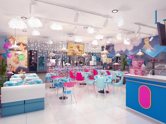 现代网红奶茶店