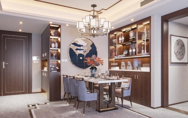 新中式餐厅 餐边柜 酒柜 餐桌椅