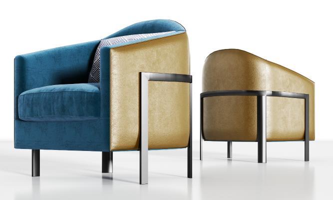 现代金属皮革绒布单人沙发