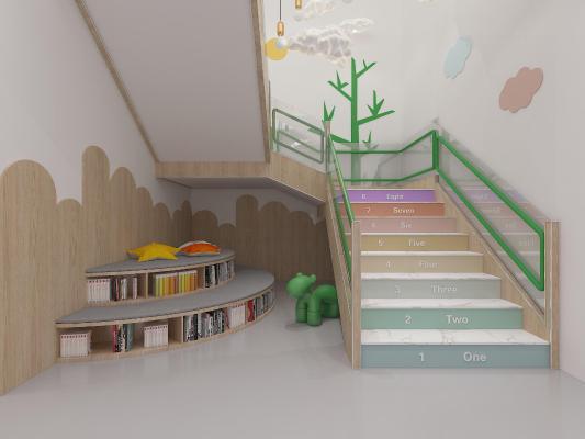 现代幼儿园楼梯间