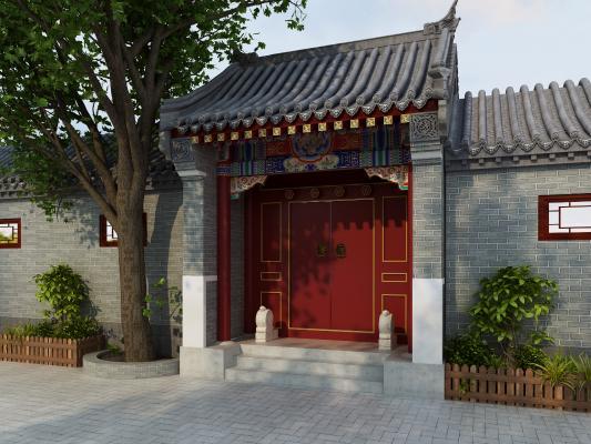 中式四合院门楼 屋檐 门台