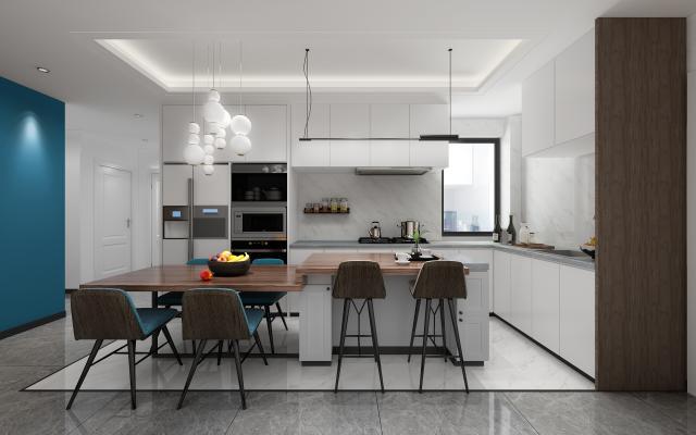 现代开放厨房 客厅 生活阳台 吊灯