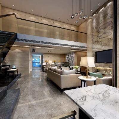 现代复式客厅 沙发组合 台灯
