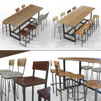 工业风长形餐桌椅