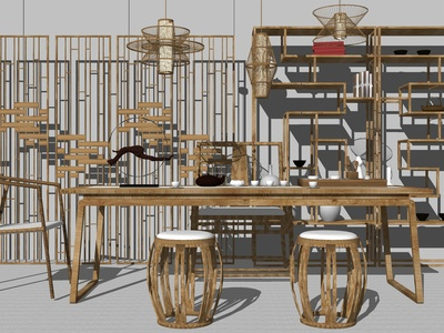 新中式泡茶桌椅 博古架 吊灯