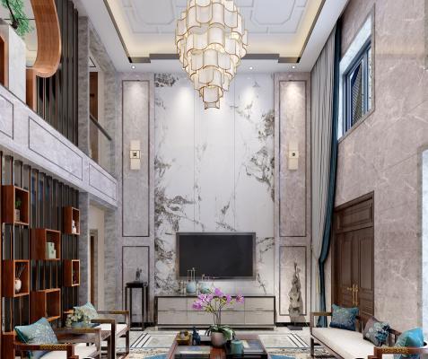 新中式别墅挑空复式客厅餐厅 客餐厅