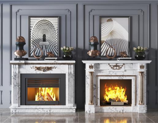 欧式简约大理石壁炉 装饰品