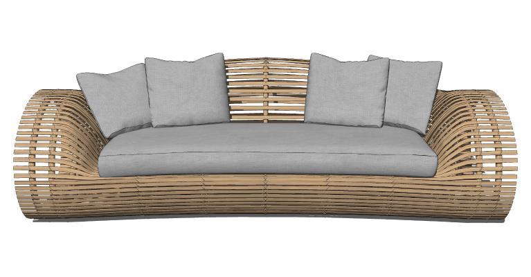 现代藤编沙发 户外休闲座椅 卡座沙发