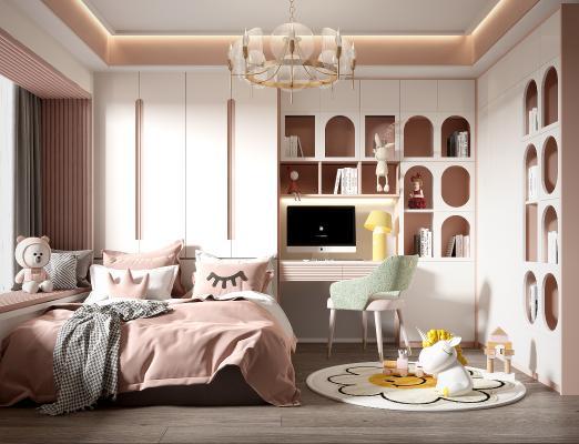 现代儿童房 女孩房 单人床