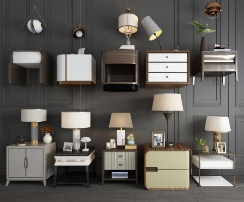 现代简约床头柜台灯小吊灯组合 北欧床头柜 单个床头柜
