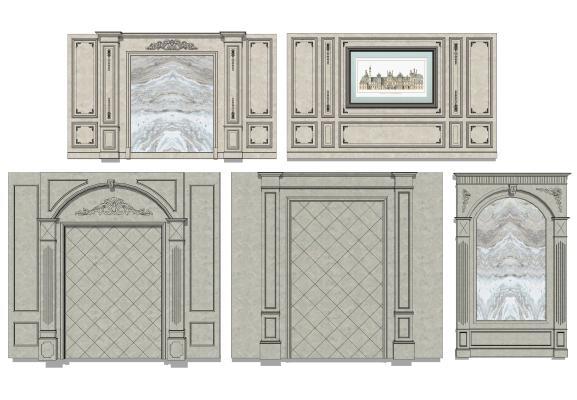 欧式风格墙面雕花 背景墙 罗马柱
