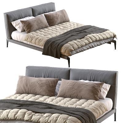 Flexform现代双人床 床龛 毯子