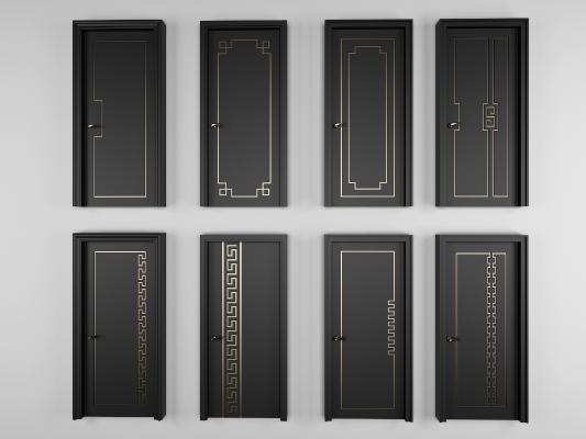 新中式黑色烤漆单开门