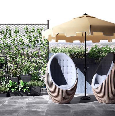 现代户外藤椅 遮阳伞 藤曼植物组合