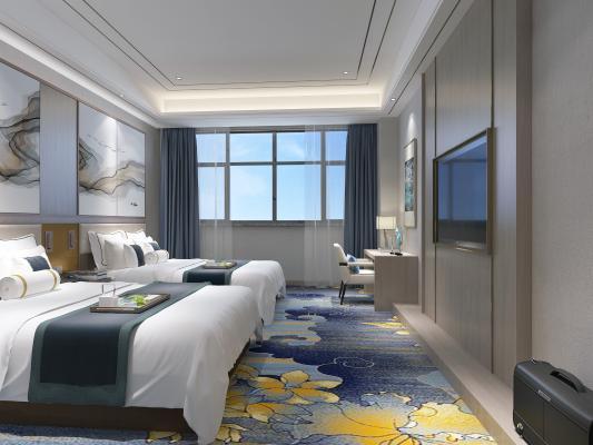 新中式风格酒店客房 床 地毯