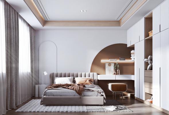 北欧家居卧室 双人床 书桌