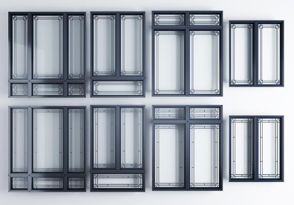 新中式窗户 窗框组合 窗户 窗框