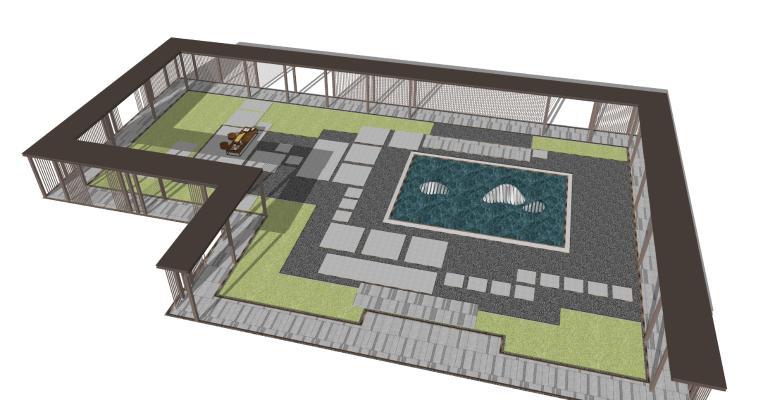 新中式风雨廊架 休闲区