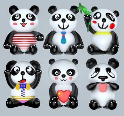 现代大熊猫 吉祥物 摆件
