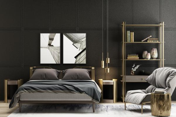 现代双人床 床头柜 挂画 落地灯