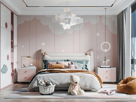 现代儿童房 卧室 床头柜 衣柜