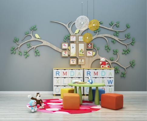 现代儿童桌椅 数造型 墙艺小品 儿童柜体