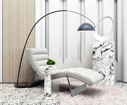 現代躺椅 落地燈組合