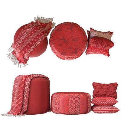 现代沙发凳 坐垫 枕头 围巾