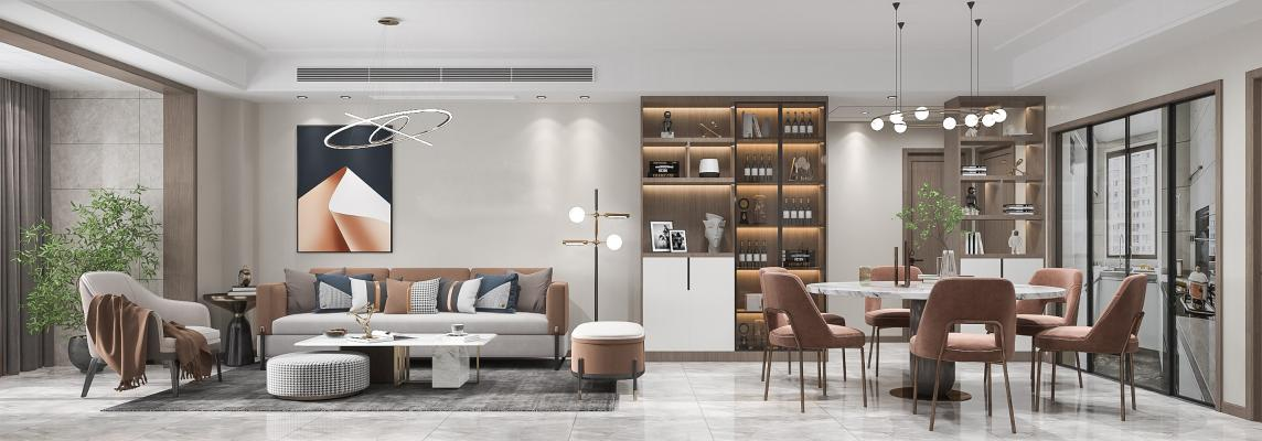 现代家居客餐厅 组合沙发 单人椅