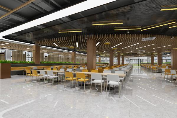 现代学校食堂 吊灯 餐桌椅